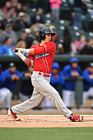 Center fielder Mickey Moniak (22) of the Lakewood BlueClaws bats in a game against the Columbia Fireflies on Friday, May 5, 2017, at Spirit Communications Park in Columbia, South Carolina. Lakewood won, 12-2. (Tom Priddy/Four Seam Images)
