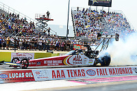 Sept. 22, 2012; Ennis, TX, USA: NHRA top fuel dragster driver Doug Kalitta during qualifying for the Fall Nationals at the Texas Motorplex. Mandatory Credit: Mark J. Rebilas-US PRESSWIRE