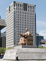 Denkmal König Sejon am Gwanghwamun Platz in Seoul, Südkorea, Asien<br /> Monument of King Sejon at Gwanghwamun place in Seoul, South Korea, Asia