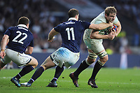 Joe Launchbury of England goes past Tim Visser of Scotland during the RBS 6 Nations match between England and Scotland at Twickenham Stadium on Saturday 11th March 2017 (Photo by Rob Munro/Stewart Communications)