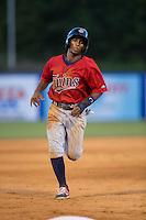 Ariel Montesino (35) of the Elizabethton Twins hustles towards third base against the Kingsport Mets at Hunter Wright Stadium on July 9, 2015 in Kingsport, Tennessee.  The Twins defeated the Mets 9-7 in 11 innings. (Brian Westerholt/Four Seam Images)