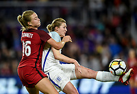 Orlando City, FL - Wednesday March 07, 2018: Emily Sonnett, Jill Scott during a 2018 SheBelieves Cup match between the women's national teams of the United States (USA) and England (ENG) at Orlando City Stadium.