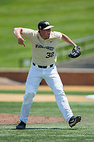 Wake Forest Demon Deacons relief pitcher Chris Farish (32) reacts after getting a strike out to end an inning against the Pittsburgh Panthers at David F. Couch Ballpark on May 20, 2017 in  Winston-Salem, North Carolina.  (Brian Westerholt/Four Seam Images)