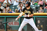 Ian Stewart (4) of the Salt Lake Bees at bat against the Reno Aces in Pacific Coast League action at Smith's Ballpark on July 23, 2014 in Salt Lake City, Utah.  (Stephen Smith/Four Seam Images)