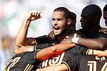 Valencia CF's Mario Suarez celebrates goal with his partners during La Liga match. September 25,2016. (ALTERPHOTOS/Acero)