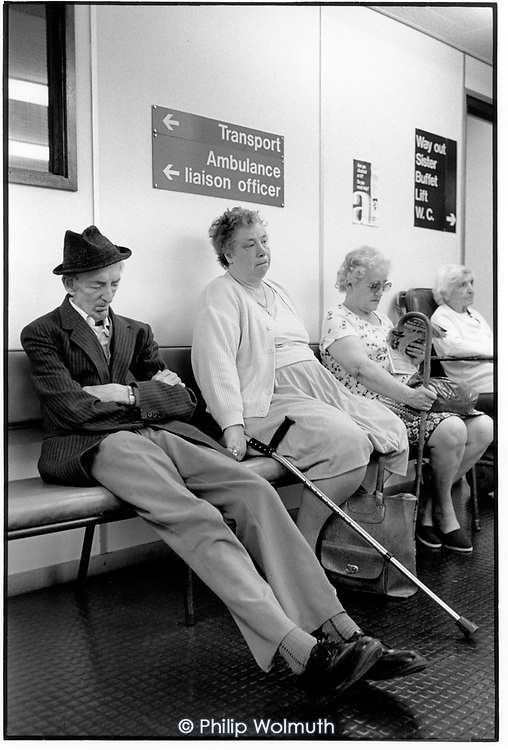 Patients wait for transport home at Guy's Hospital, London.