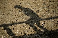 VILLAVICENCIO - COLOMBIA. 13-10-2018: La sombra de un vaquero que observa las competencias durante el 22 encuentro Mundial de Coleo en Villavicencio, Colombia realizado entre el 11 y el 15 de octubre de 2018. / The silhouette of a cowboy that watches the competitions during the 22 version of the World  Meeting of Coleo that takes place in Villavicencio, Colombia between 11 to 15 of October, 2018. Photo: VizzorImage / Gabriel Aponte / Staff