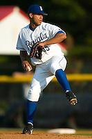 Burlington starting pitcher Eduardo Paulino (35) in action versus Bristol at Burlington Athletic Park in Burlington, NC, Thursday, July 12, 2007.