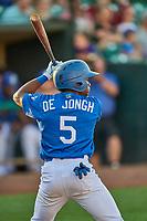 Aldrich De Jongh (5) of the Ogden Raptors at bat against the Orem Owlz at Lindquist Field on September 3, 2019 in Ogden, Utah. The Raptors defeated the Owlz 12-0. (Stephen Smith/Four Seam Images)