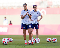 KASHIMA, JAPAN - AUGUST 5: Carli Lloyd #10 of the USWNT warms up before a game between Australia and USWNT at Kashima Soccer Stadium on August 5, 2021 in Kashima, Japan.