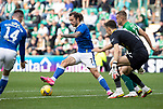 Hibs v St Johnstone…22.09.21  Easter Road.    SPFL<br />Stevie May and Glenn Middleton can't find a way through the Hibs defence<br />Picture by Graeme Hart.<br />Copyright Perthshire Picture Agency<br />Tel: 01738 623350  Mobile: 07990 594431