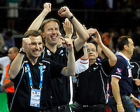 French national basketball team head coach Vincet Collet celebrate victory in semifinal basketball game between France and Russia in Kaunas, Lithuania, Eurobasket 2011, Friday, September 16, 2011. (photo: Pedja Milosavljevic)