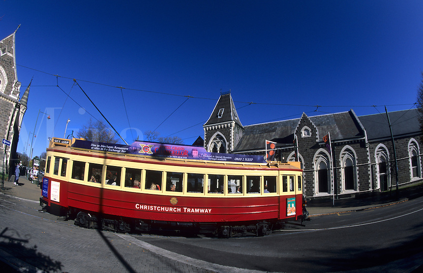 Beautiful scenic of city of Christchurch and colorful tram on Worchester Street in small quaint downtown area, New Zealand, South Pacific