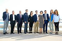 Philippe Duclos, Benoit Louvet, Paul Zick, Thierry Godart, Caroline Proust, Maxime Saada, Fleur Pellerin, Davis Lisnard, Audrey Fleurot et Anne Landois posent lors du photocall d ENGRENAGES pendant le MIPTV a Cannes, le lundi 3 avril 2017.