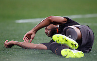 Calcio, Tim Cup: Roma vs Empoli. Ottavi di finale a gara unica. Roma, stadio Olimpico, 20 gennaio 2015.<br /> Roma's Maicon reacts after being injured during the Italian Cup round of 16 football match between Roma and Empoli at Rome's Olympic stadium, 20 January 2015.<br /> UPDATE IMAGES PRESS/Riccardo De Luca