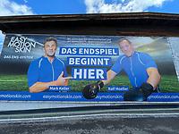 Mark Keller und Ralf Moeller wuenschen der Deutschen Nationalmannschaft auf einer Werbetafel am Trainingsplatz viel Erfolg bei der EM - Seefeld 25.05.2021: Trainingslager der Deutschen Nationalmannschaft zur EM-Vorbereitung