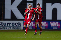 19th December 2020; Dens Park, Dundee, Scotland; Scottish Championship Football, Dundee FC versus Dunfermline; Declan McManus of Dunfermline Athletic is congratulated by Josh Edwards after scoring an equaliser with the last kick of the ball in the 95th minute to level the score at 3-3