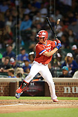 Ben Harris (13) of Milton High School in Alpharetta, Georgia at bat during the Under Armour All-American Game presented by Baseball Factory on July 29, 2017 at Wrigley Field in Chicago, Illinois.  (Mike Janes/Four Seam Images)