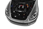 High angle engine detail of a 2014 Porsche Cayenne Hybrid S 5 Door SUV