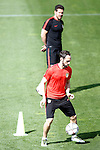 Atletico de Madrid's coach Diego Pablo Simeone (t) and Juanfran Torres during training session. April 26,2016.(ALTERPHOTOS/Acero)