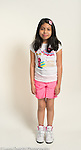portrait of 11 year old girl, standing, full length, in summer clothing