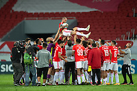 19th December 2020; Beira-Rio Stadium, Porto Alegre, Brazil; Brazilian Serie A, Internacional versus Palmeiras; D'Alessandro of Internacional celebrates with his teammates after his last match as a professional player at 39 years of age