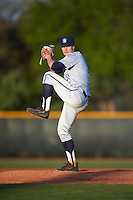 Georgetown Hoyas starting pitcher Jack Cushing (31) delivers a pitch during a game against the Chicago State Cougars on March 3, 2017 at North Charlotte Regional Park in Port Charlotte, Florida.  Georgetown defeated Chicago State 11-0.  (Mike Janes/Four Seam Images)