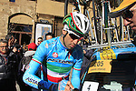 Italian National Champion Vincenzo Nibali (ITA) Astana before the start of the 2015 Strade Bianche Eroica Pro cycle race 200km over the white gravel roads from San Gimignano to Siena, Tuscany, Italy. 7th March 2015<br /> Photo: Eoin Clarke www.newsfile.ie