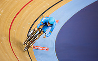 06 AUG 2012 - LONDON, GBR - Jolien d'Hoore (BEL) of Belgium  rides her Flying Lap during the first day of the Women's Omnium in the London 2012 Olympic Games track cycling at the Olympic Park Velodrome in Stratford, London, Great Britain.(PHOTO (C) 2012 NIGEL FARROW)