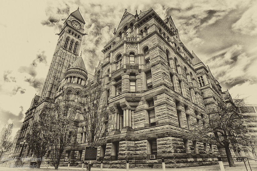 An aged looking image of the Toronto Old City Hall.