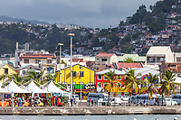 Fort-de-France, Martinique.  View of the Town from the Harbor, Early Morning.