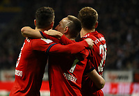 celebrate the goal, Torjubel zum 0:1 um Franck Ribery (FC Bayern Muenchen) mit Robert Lewandowski (FC Bayern Muenchen), Thomas Mueller (FC Bayern Muenchen) - 22.12.2018: Eintracht Frankfurt vs. FC Bayern München, Commerzbank Arena, DISCLAIMER: DFL regulations prohibit any use of photographs as image sequences and/or quasi-video.