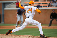 Tennessee Volunteers pitcher Garrett Crochet (34) in action against the UNC Greensboro Spartans at Lindsey Nelson Stadium in Knoxville, Tennessee, on Feb. 25, 2018. UNC Greensboro beat Tennessee 3-2. (Danny Parker/Four Seam Images)