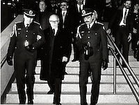Montreal (QC) CANADA  January 11 , 1984 file photo - Jean Drapeau, Montreal Mayor at the inauguration of the metro orange line extension to Du College  station