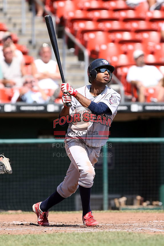 August 22 2008:  Brandon Watson of the Lehigh Valley IronPigs, Class-AAA affiliate of the Philadelphia Phillies, during a game at Dunn Tire Park in Buffalo, NY.  Photo by:  Mike Janes/Four Seam Images