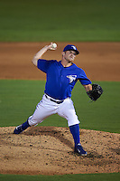 Dunedin Blue Jays pitcher Arik Sikula (20) delivers a pitch during the second game of a doubleheader against the Palm Beach Cardinals on July 31, 2015 at Florida Auto Exchange Stadium in Dunedin, Florida.  Dunedin defeated Palm Beach 4-0.  (Mike Janes/Four Seam Images)