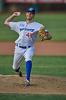 Ogden Raptors starting pitcher Gavin Weyman (45) delivers a pitch to the plate against the Grand Junction Rockies at Lindquist Field on June 5, 2021 in Ogden, Utah. The Raptors defeated the Rockies 18-1. (Stephen Smith/Four Seam Images)