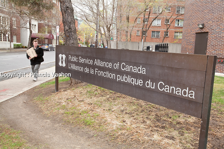 Public Service Alliance of Canada headquarters is pictured in Ottawa Tuesday April 24, 2012. The Public Service Alliance of Canada (PSAC) is one of Canada<br /> s largest national labour unions, with members in every province and territory.<br /> <br /> PHOTO :  Francis Vachon - Agence Quebec Presse