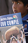 ©PATRICIO CROOKER<br /> Chuquisaca, Bolivia<br /> A picture dated August 5, 2007 shows a young boy holding a sign with the image of Bolivian President Evo Morales, who was attending a ceremony in the city of Sucre.