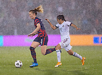 EAST HARTFORD, CT - JULY 1: Samantha Mewis #3 of the USWNT dribbles past Lizbeth Ovalle #17 of Mexico during a game between Mexico and USWNT at Rentschler Field on July 1, 2021 in East Hartford, Connecticut.