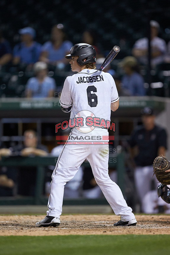 Kyle Jacobsen (6) of the South Carolina Gamecocks at bat against the North Carolina Tar Heels at BB&T BallPark on April 3, 2018 in Charlotte, North Carolina. The Tar Heels defeated the Gamecocks 11-3. (Brian Westerholt/Four Seam Images)