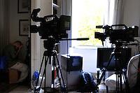 Lavoratori dello spettacolo durante le riprese .Workers in the entertainment during the filming..