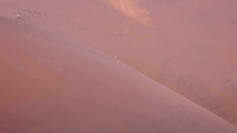 Two Individuals Completely Dwarfed By The Sand Dunes, Deadvlei, Sossuvlei.