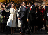 Justin Trudeau,  Prime Minister-designate , his wife and members of the 29th Canadian ministry on the grounds of Rideau Hall in Ottawa, Ontario, on Wednesday, November 4, 2015.<br /> <br /> PHOTO : Raffi Kirdi<br /> - Agence Quebec Presse