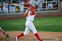 Jose Rojas (2)  of the Orem Owlz at bat against the Grand Junction Rockies in Pioneer League action at Home of the Owlz on July 6, 2016 in Orem, Utah. The Owlz defeated the Rockies 9-1 in Game 1 of the double header.  (Stephen Smith/Four Seam Images)