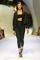 MELBOURNE - September 5, 2019: A model wearing Scanlan Theodore walks at the Town Hall Closing Runway show during Melbourne Fashion Week in Melbourne, Australia. Photo Sydney Low