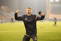 James Barrigan, Marine AFC celebrates following Marine's penalty shoot out victory during Colchester United vs Marine, Emirates FA Cup Football at the JobServe Community Stadium on 7th November 2020