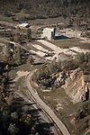 Calaveras County aerials-former site and cement storage silos of the Calaveras Cement Company, mostly demolished