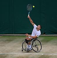 July 11th 2021, Wimbledon, London England; 2021 Wimbledon Championship  Wheelchair Mens Final Joachim Gerard (Bel) versus Gordon Reid (Gbr)
