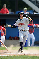 Connecticut Tigers first baseman Will Maddox (40) singles during the second game of a doubleheader against the Batavia Muckdogs on July 20, 2014 at Dwyer Stadium in Batavia, New York.  Connecticut defeated Batavia 2-0.  (Mike Janes/Four Seam Images)